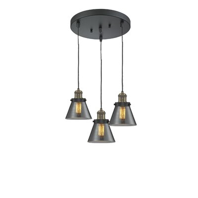 Glass Cone 3-Light Pendant Finish: Black Brushed Brass, Shade Color: Smoked, Size: 132 H x 12 W x 12 D