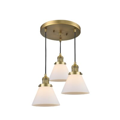 Glass Cone 3-Light Pendant Finish: Brushed Brass, Shade Color: Matte White Cased, Size: 135 H x 11 W x 11 D