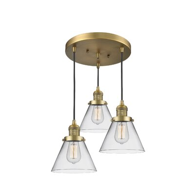 Glass Cone 3-Light Pendant Finish: Brushed Brass, Shade Color: Clear, Size: 135 H x 11 W x 11 D