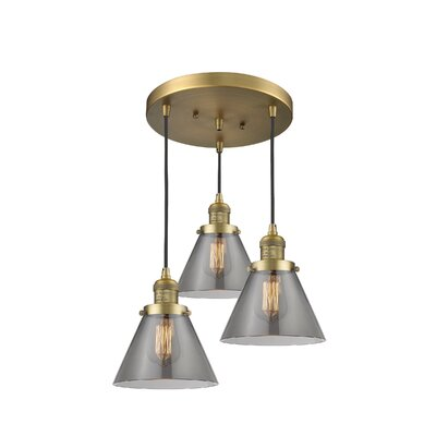 Glass Cone 3-Light Pendant Finish: Brushed Brass, Shade Color: Smoked, Size: 135 H x 13 W x 13 D