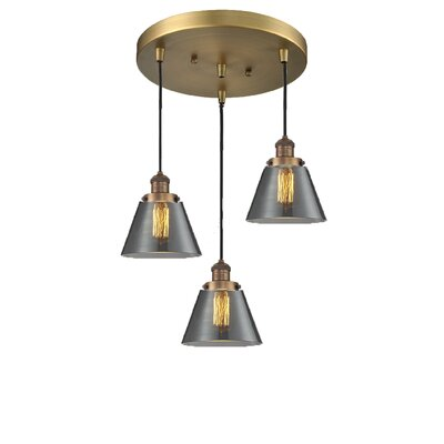 Glass Cone 3-Light Pendant Finish: Brushed Brass, Shade Color: Smoked, Size: 132 H x 12 W x 12 D