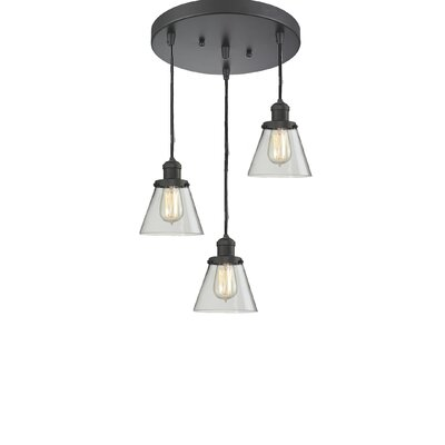 Glass Cone 3-Light Pendant Finish: Oiled Rubbed Bronze, Shade Color: Clear, Size: 132 H x 12 W x 12 D