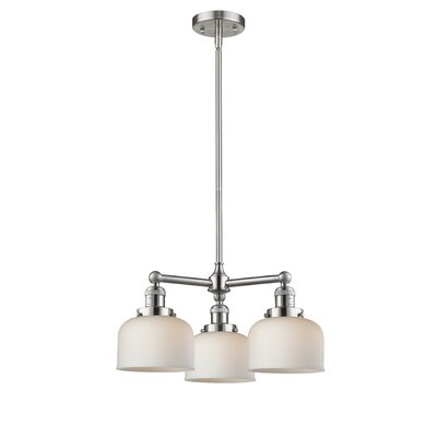 Large Bell 3-Light Pool Table Light Finish: Brushed Satin Nickel, Shade Color: Matte White Cased