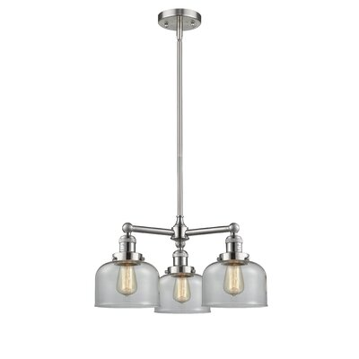 Large Bell 3-Light Pool Table Light Finish: Brushed Satin Nickel, Shade Color: Clear