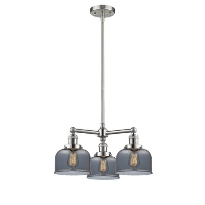 Large Bell 3-Light Pool Table Light Finish: Brushed Satin Nickel, Shade Color: Smoked