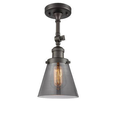 Glass Cone 1-Light Semi Flush Mount Finish: Oil Rubbed Bronze, Shade Color: Smoked, Size: 11 H x 6.25 W