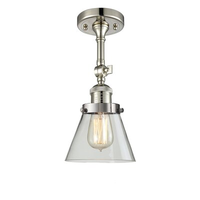 Glass Cone 1-Light Semi Flush Mount Finish: Polished Nickel, Shade Color: Clear, Size: 11 H x 6.25 W