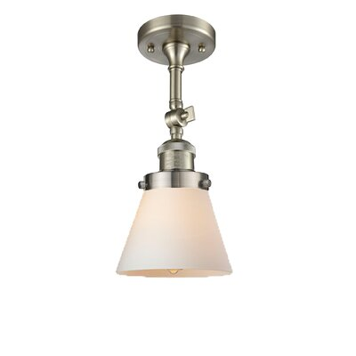 Glass Cone 1-Light Semi Flush Mount Finish: Brushed Satin Nickel, Shade Color: Matte White Cased, Size: 11 H x 6.25 W