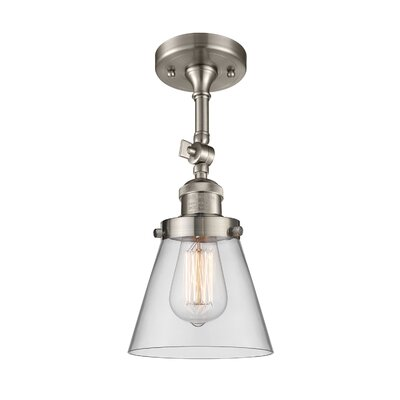 Glass Cone 1-Light Semi Flush Mount Finish: Satin Nickel, Shade Color: Clear, Size: 11 H x 6.25 W
