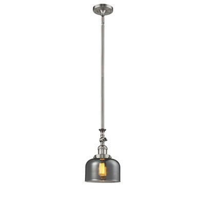 Glass Bell 1-Light Stem Pendant Finish: Satin Nickel, Shade Color: Smoked