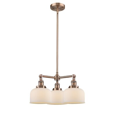 Large Bell 3-Light Pool Table Light Finish: Antique Copper, Shade Color: Matte White Cased