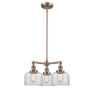 Glass Bell 3-Light Pool Table Light Finish: Antique Copper, Shade Color: Clear