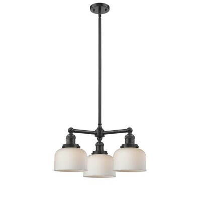 Large Bell 3-Light Pool Table Light Finish: Oil Rubbed Bronze, Shade Color: Matte White Cased