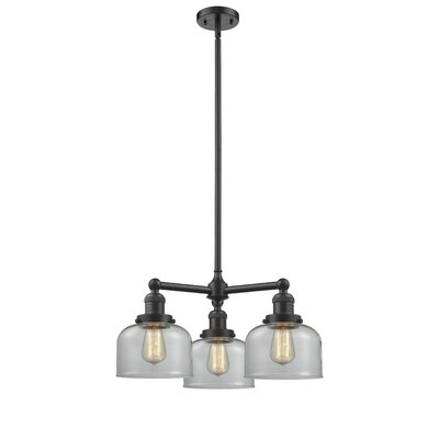 Large Bell 3-Light Pool Table Light Finish: Oil Rubbed Bronze, Shade Color: Clear