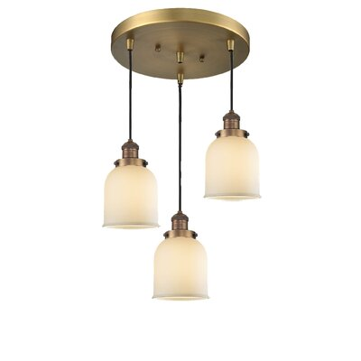 Glass Bell 3-Light Pendant Finish: Brushed Brass, Shade Color: Matte White Cased, Size: 5 x 6