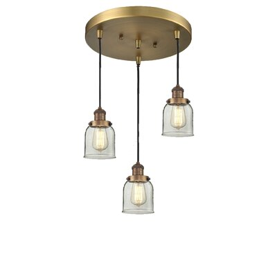 Glass Bell 3-Light Pendant Finish: Brushed Brass, Shade Color: Clear Bell, Size: 5 x 6