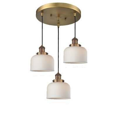 Glass Bell 3-Light Pendant Finish: Brushed Brass, Shade Color: Matte White Cased, Size: 13 x 13
