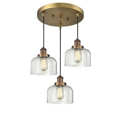 Glass Bell 3-Light Pendant Finish: Brushed Brass, Shade Color: Clear Bell, Size: 11 x 11