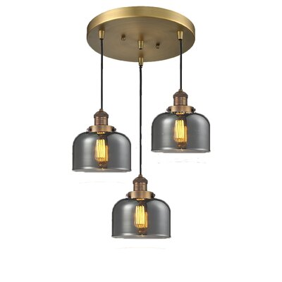 Glass Bell 3-Light Pendant Finish: Brushed Brass, Shade Color: Smoked, Size: 11 x 11