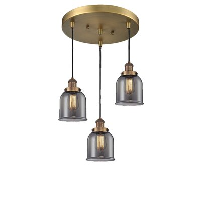 Glass Bell 3-Light Pendant Finish: Brushed Brass, Shade Color: Smoked, Size: 5 x 6