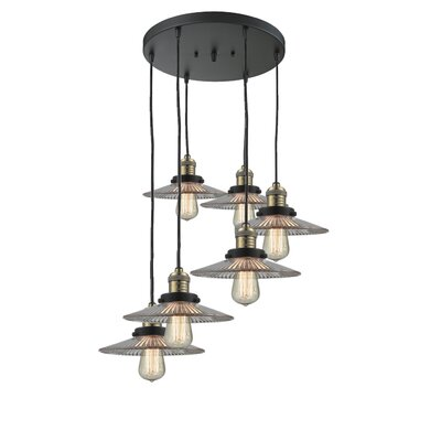 Halophane 6-Light Mini Pendant Finish: Black Brushed Brass