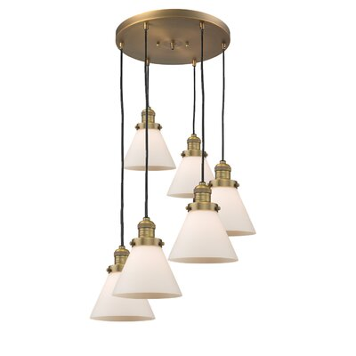 Glass Cone 6-Light Pendant Finish: Brushed Brass, Shade Color: Matte White Cased, Size: 13 W x 13 D