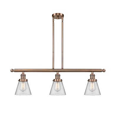 Glass Cone 3-Light Kitchen Island Pendant Finish: Antique Copper, Shade Color: Clear, Size: 36 H x 36 W x 5 D