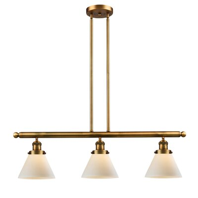 Glass Cone 3-Light Kitchen Island Pendant Finish: Brushed Brass, Shade Color: Matte White Cased, Size: 36 H x 36 W x 8 D