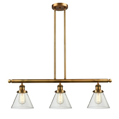 Glass Cone 3-Light Kitchen Island Pendant Finish: Brushed Brass, Shade Color: Clear, Size: 36 H x 36 W x 8 D