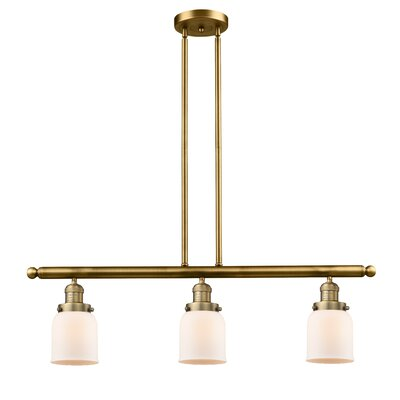 Small Bell 3-Light Kitchen Island Pendant Finish: Brushed Brass, Shade Color: Matte White Cased
