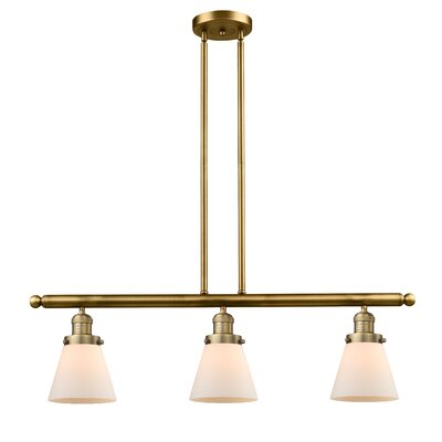 Glass Cone 3-Light Kitchen Island Pendant Finish: Brushed Brass, Shade Color: Matte White Cased, Size: 36 H x 36 W x 5 D