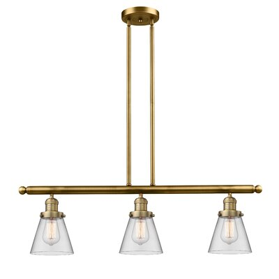 Glass Cone 3-Light Kitchen Island Pendant Finish: Brushed Brass, Shade Color: Clear, Size: 36 H x 36 W x 5 D