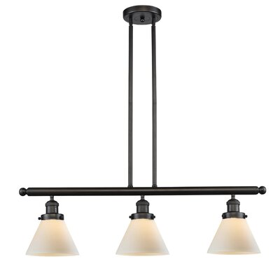 Glass Cone 3-Light Kitchen Island Pendant Finish: Oil Rubbed Bronze, Shade Color: Matte White Cased, Size: 36 H x 36 W x 8 D