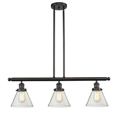 Glass Cone 3-Light Kitchen Island Pendant Finish: Oil Rubbed Bronze, Shade Color: Clear, Size: 36 H x 36 W x 8 D