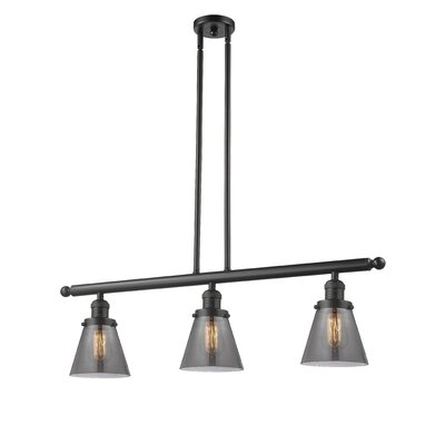 Glass Cone 3-Light Kitchen Island Pendant Finish: Oil Rubbed Bronze, Shade Color: Smoked, Size: 36 H x 36 W x 5 D