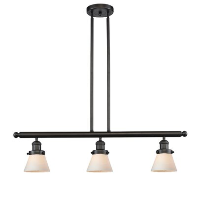 Glass Cone 3-Light Kitchen Island Pendant Finish: Oiled Rubbed Bronze, Shade Color: Matte White Cased, Size: 36 H x 36 W x 5 D