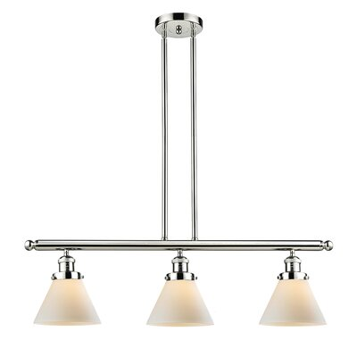Glass Cone 3-Light Kitchen Island Pendant Finish: Polished Nickel, Shade Color: Matte White Cased, Size: 36 H x 36 W x 8 D