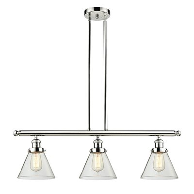 Glass Cone 3-Light Kitchen Island Pendant Finish: Polished Nickel, Shade Color: Clear, Size: 36 H x 36 W x 8 D