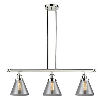 Glass Cone 3-Light Kitchen Island Pendant Finish: Polished Nickel, Shade Color: Smoked, Size: 36 H x 36 W x 8 D
