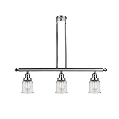 Glass Bell 3-Light Island Pendant Finish: Polished Nickel, Shade Color: Clear