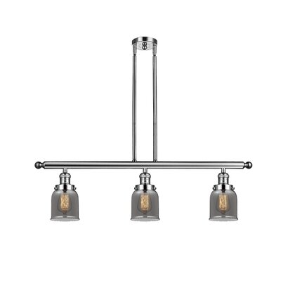 Small Bell 3-Light Kitchen Island Pendant Finish: Polished Nickel, Shade Color: Smoked