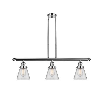Glass Cone 3-Light Kitchen Island Pendant Finish: Polished Nickel, Shade Color: Clear, Size: 36 H x 36 W x 5 D
