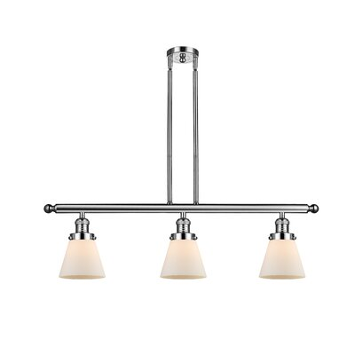 Glass Cone 3-Light Kitchen Island Pendant Finish: Polished Nickel, Shade Color: Matte White Cased, Size: 36 H x 36 W x 5 D