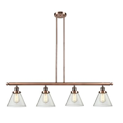 Glass Cone 4-Light Kitchen Island Pendant Finish: Antique Copper, Shade Color: Smoked, Size: 48 W x 5 D