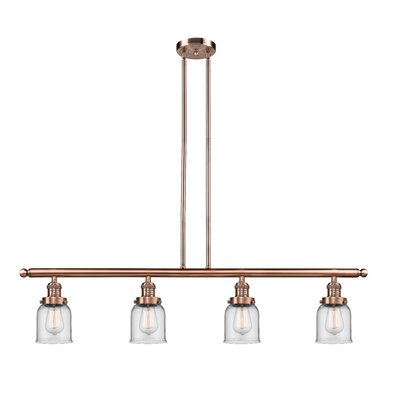 Glass Bell 4-Light Kitchen Island Pendant Finish: Antique Copper, Shade Color: Clear, Size: 48 W x 5 D