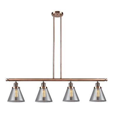 Glass Cone 4-Light Kitchen Island Pendant Finish: Antique Copper, Shade Color: Matte White Cased, Size: 48 W x 5 D