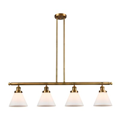 Glass Cone 4-Light Kitchen Island Pendant Finish: Brushed Brass, Shade Color: Clear, Size: 48 W x 5 D