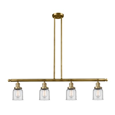 Glass Bell 4-Light Kitchen Island Pendant Finish: Brushed Brass, Shade Color: Clear, Size: 48 W x 5 D
