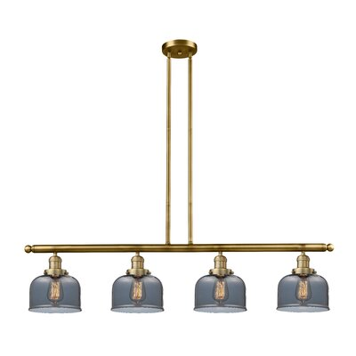 Glass Bell 4-Light Kitchen Island Pendant Finish: Brushed Brass, Shade Color: Smoked, Size: 48 W x 8 D