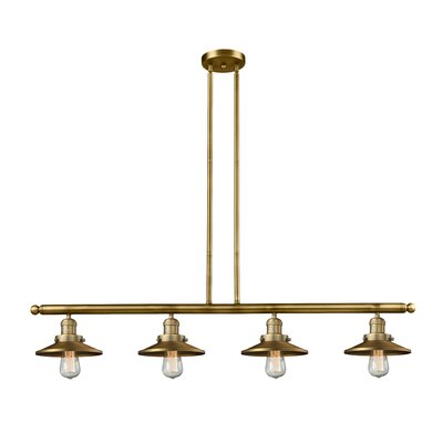 Railroad Shade 4-Light Kitchen Island Pendant Finish: Brushed Brass